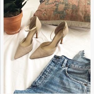Nude Snakeskin Print D'Orsay Style Pumps